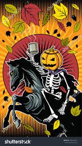 Horse Skeleton Halloween Illustration Halloween Pumpkin Skeleton Ride On Stock Vector