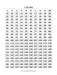 printable hundreds chart free all the numbers between 1 and 200 are featured on one page in this