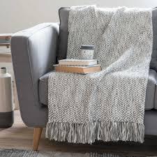 sofa ã berwurf copriletto in cotone con motivi jacquard grigio 130x170 cm gardane
