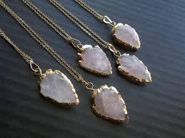 gold rose quartz necklace images Rose quartz arrowhead necklace arrowhead jewelry gold dipped jpg