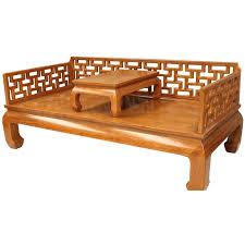 canap asiatique canapé lit chinois brun 1 personne avec table basse mobilierdasie com