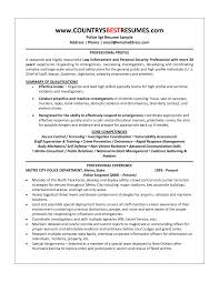 Security Job Resume Objective Resume Objectives For Law Enforcement Skills Examples Probation