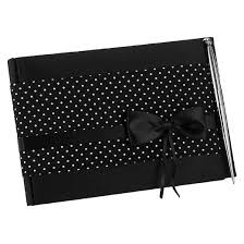 black guest book polka dot wedding collection guest book with pen target
