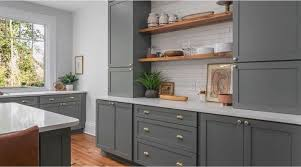 gray kitchen cabinets with white crown molding kitchen cabinetry