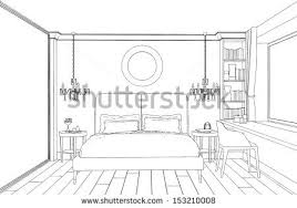 modern interior bedroom hand drawing stock vector 153210008