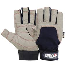 sailing gloves all cut finger style yachting glove in blue grey color