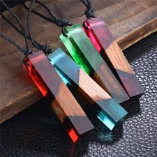 crystal necklace store images Wood resin crystal ocean sights cube pendant necklace hand made jpg