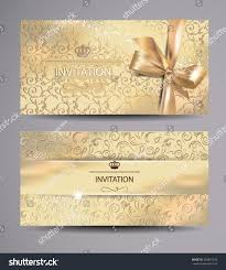 Gold Invitation Card Set Gold Invitation Cards Floral Background Stock Vector 364894535