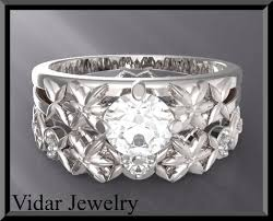 Flower Wedding Ring by Diamond And White Sapphire Wedding Ring Set Vidar Jewelry