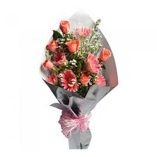 flowers bouquet pink gerberas pomelo roses mixed flower bouquet 301