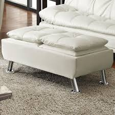 cream white faux leather pillow top seating accent tray table