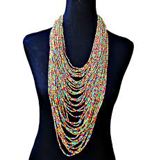 multi layered beaded necklace images Multi layered long colorful beaded statement necklace multi jpg