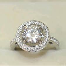 cz engagement ring 9 2 5 silver halo cz engagement ring band pave cut