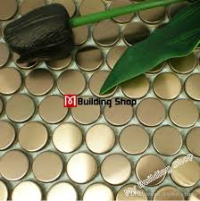 Stainless Steel Mosaic Tile Backsplash by 2017 Penny Round Mosaic Tile Smmt020 Gold Metal Mosaic Wall Tiles