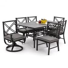 7 Piece Aluminum Patio Dining Set - audubon 7 piece aluminum patio dining set with 2 swivel rockers 4