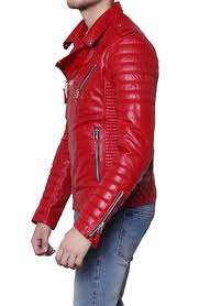 mens leather moto jacket padded sleeve red leather motorcycle jacket