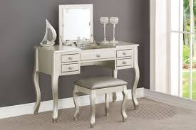 Wood Vanity Table Poundex F4145 Silver Finish Wood Vanity Set Mirror Stool