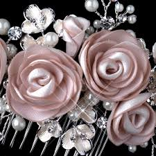 silver flowers rum pink pearl rhinestone comb with matte satin flowers 3