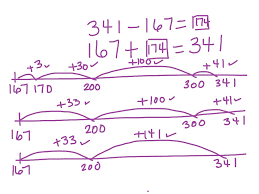 showme three digit subtraction using open number line