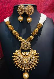 fashion design necklace images Gold plated kundan and pearl studded traditional necklace set with jpg