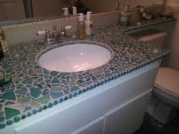 bathroom tile countertop ideas sea glass and shells mixed media mosaic bathroom countertop by
