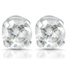 stud earings 1 4ct diamond stud earrings 14k white gold walmart