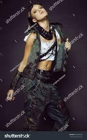 futuristic style young woman warrior brutal futuristic style stock photo 596007689