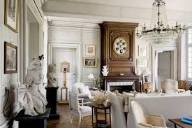 Family Room With French Style And Large Chandelier Chic French - Family room in french