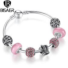 silver pink bracelet images Silver charm bracelet bangle with open your heart crown charms jpg