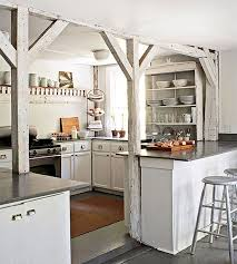Whitewashed Kitchen Cabinets Exposed Wood Beams Cottage Kitchen Esny