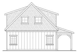 craftsman house plans 2 car garage w attic 20 087 associated garage design 20 087 rear elevation
