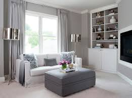 white and gray living room gray living room with corner tv niche contemporary living room