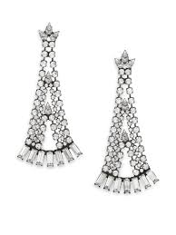 dannijo ada crystal chandelier earrings in metallic lyst