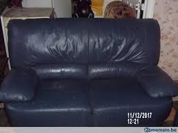 canapé 2 et 3 places cuir salon grands canapés 3 et 2 places cuir vachette bleu a vendre