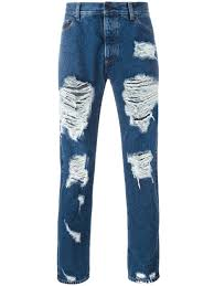 American Flag Skinny Jeans Palm Angels Ripped Skinny Jeans Blu Men Clothing Palm Angels On