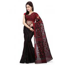 dhakai jamdani jamdani handloom saree in black