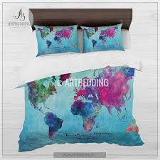 watercolor world map bedding boho chic blue world map duvet cover