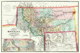 Montana State Map Old State Map Montana Territory Delacy 1872