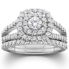 engagement and wedding ring set 1 1 10ct cushion halo solitaire diamond engagement wedding ring