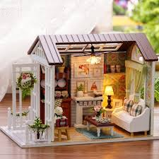 Dolls House Furniture Diy Diy Kits Wood Dollhouse Miniature House Led Light Handicraft Idea