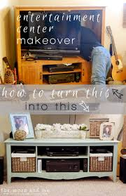 the moon and me entertainment center to tv console makeover