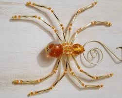 orange gold and white beaded spider ornament merriamelie on artfire