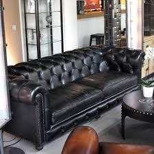 canapé chesterfield cuir noir canapé chesterfield en cuir noir carbone les nouveaux brocanteurs