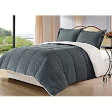 Charcoal Grey Comforter Set Amazon Com Chezmoi Collection 3 Piece Micromink Sherpa Reversible