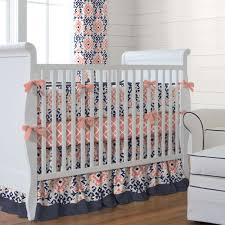 Navy And Coral Crib Bedding Nursery Beddings Solid Navy Baby Bedding In Conjunction With