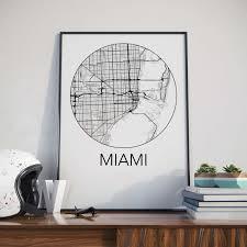 Florida City Map Miami Florida Minimalist City Map Print U2013 The Neighborhood Unit