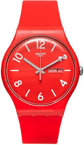 red swatch swatch unisex swiss backup red light rose and red layered silicone