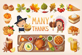 set of thanksgiving day elements illustrations creative market