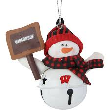 badgers snowman bell with sign ornament