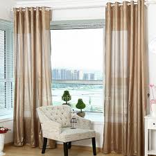 chambre color concise simple modern sheer curtain in coffee color polyester material